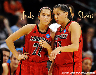 Jude and Shoni Schimmel, sisters and University of Louisville Cardinals women basketball players. Mark D. Smith, USA Today Sports.