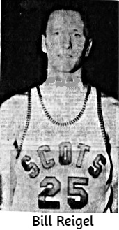 Body portrait of Bill Reigel, men's basketball player for the A.A.U. basketball team, the McDonald Scots of Lake Charles, in uniform #25.