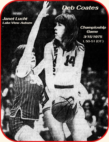 Image of Deb Coates, Mediapolis Bullettes High School basketball player in Iowa. Shown (#14) in championship gae 3/15/1975, on the right with the ball, being defened by JAnet Lucht of Lake View-Auburn High School, who won the game in overtime, 51-50. Cates scored 34 points. From From the Waterloo Courier, Waterloo, Iowa, March 16, 1975.