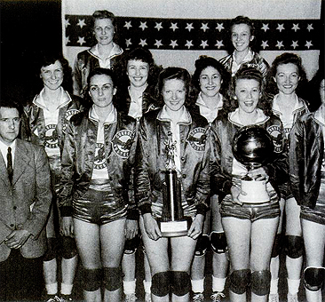 Picture of Nashville Vultee Aircraft (Convair) Bomberettes, Women's AAU Champions, 1944 and 1945, winners of 49 games in a row. The AAU 1945 Champion Vultee Bomberettes. Front Row: Coach Billy Hudson, Margaret Sexton Petty, Alline Banks Pate, Doris Weems, Lucille Gentry [spliced out of image]; middle row: Margie Cooper, unknown, Catherine Matshall, Lorene Linville; back row: Mary Jane Marshall, Virginia Hamlen. From Just For Fun: the Story of AAU Women's Basketball by Rpbert W. Ikard. <i>Photograph courtesy of Jane Marshall Ingram</i></font>