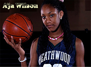 Image of Heathwood Hall High School (South Carolina) basketball player A'ja Wilson, with basketball.