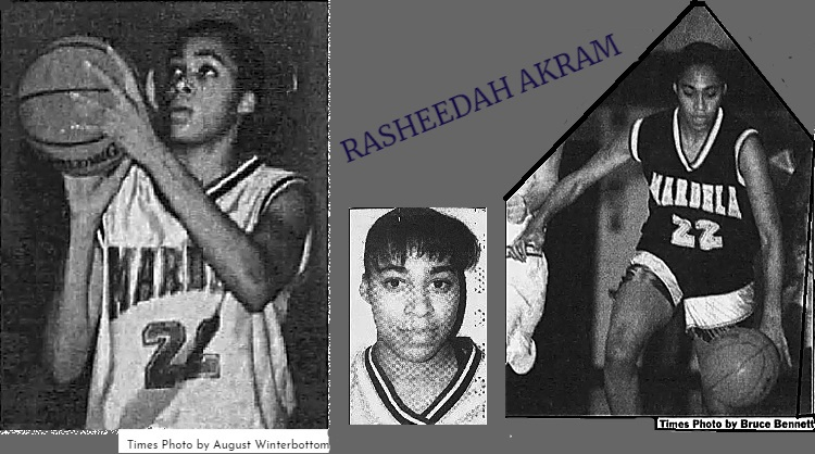 Three images of Rasheedah Akram. Portrait with short hair, from The Daily Times, Salisbury, Maryland, Dec. 20, 1994. Shot in white uniform for Mardela Springs, #11, The Daily Times, Jan. 29, 1997, photo by Autumn Winterbotto, and in dark uniform dribbling ball towards us, The Daily Times, March 24, 1996, photo by Bruce Bennett.