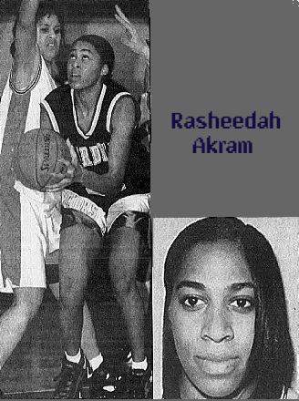 Two images of Rasheedah Akram, girls basketball player for Mardela Springs High School, in Maryland. Crouched, looking up, going up for a shot in black uniform, from The Daily Times, Salisbury, Maryland, Jan. 8, 1997, photo by Joey Gardner and portrait with long hair, from The Daily Times, Feb. 6, 1997.