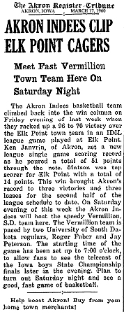 Article from the Akron Register-Tribune, March 17, 1960 on the Akron Indies basketball team in the IDIL basketball league.