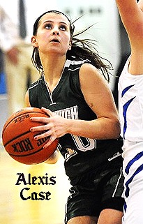 Alexis Case, Greenwich (N.Y.) Witch basketball player, looking for a shot near the basket.