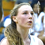 Close up of Ali Cyr-Scully, girls basketball player for East Chapel Hill High School, North Carolina, as she takes a free throw.