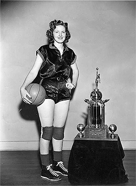 Picture of Alline 'Red' Banks, Vultees star, 11 time A.A.U. All-American, 1940-50, honorable mention 1939, 7 time A.A.U. M.V.P.