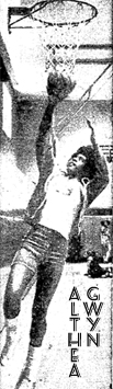 Black and white image of Althea Gibson going up for a layup. FRom Newsday, March 13, 1974; photo by Walter del Toro.
