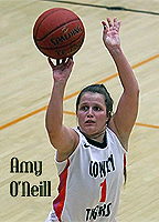 Cowley College women's basketball player seen from above shooting the ball in uniform number one.