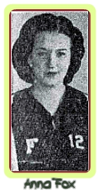 Portrait image of Anna Fox, 1940 girls basketball player for Fairbank High. From the Des Moines Tribune, December 9, 1940.