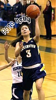Anna Kelly, Lexington High School (Massachusetts) basketball player going up for a layup in a black uniform, number 3.