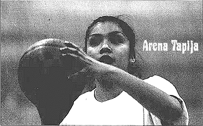 Image of Arena Tapija, grandaughter of legendary Earl Dunn, and owner of the Nevada state record 62 points in a single-game, pictured shooting a shot, in a T-shirt, in practice. Photo: David B. Parker, Reno Gazette-Journal, December 21, 2001.