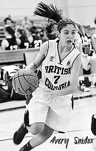Photo by Basketball BC of Avery Snider, in a British Columbia #7 uniform, playing for the provincial U-17 team. Dribbling the basketball.