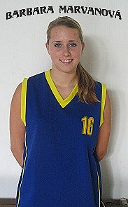 Image of Barbora (Barbara) Marvanova, in uniform, basketball player for SK Basketbal Tisnov younger junior girls.