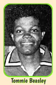 Portrait of Tommie Beasley, early co-record holder of the N.A.I.A. single-game scoring record (48), in nice striped collared uniform. AMERICAN photo by Robert Miller, from the Hattiesburg American, Hattiesburg, Mississippi, February 14, 1984, the day after she scored the 48 for William Carey College against Dillard College.