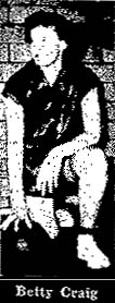 Image of Betty Craig, Ashland High School basketball player (Southern Boone County). Kneeling, hand on basketball. From The News and Tribune, Jefferson City, Missouri, January 20, 1957.