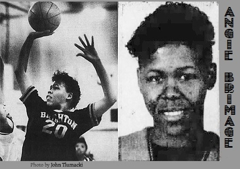 Black & white images of girls basketball player for Brighton High, Massachusetts. One shows her shooting with right hand, #20, from the Boston Globe, February 13,1988, photo by John Tlumacki, and portrait from the Boston Globe, April 12, 1988.