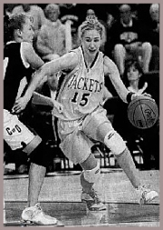 Brittany Smart dribbling past the defense. From the Sioux City Journal, Sioux City, Iowa, March 3, 2007.