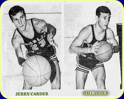 Images of identical twin boys basketball players for the Findlay College basketball team. Jerry Carder, #23, on left, with basketball. Also with basketball, on the right side, is Jim Carder. From the Fremont News-Messenger, Fremont, Ohio, February 13, 1968.