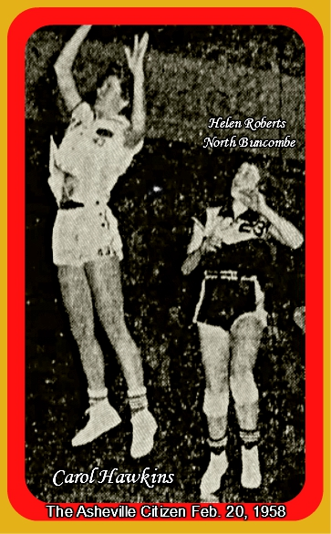 Image of Carol Hawkins, Enke High (North Carolina) girls basketball player (#43) up in air, shooting a shot from the next year's Buncombe County post-season tournament. Guarded by Helen Roberts (#23) of Buncombe. From The Asheville Citizen, February 20, 1958.