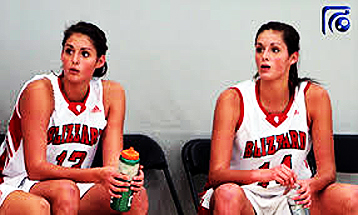 Audrey-Ann and Khaleann Caron-Goudreau, Seminaire St-Francois (Quebec) basketball twins, numbers 13 and 14.