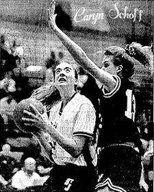 Action photo of Caryn Schoff, St. Johnsville Saint basketball player. From The Daily Gazette, April 5, 1994, Schenectady, New York.