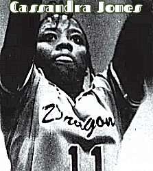 Close up of Cassandra Jones, Stranahan High School girls basketball player, from 1980. A 5'6 inch soph in her number 11 Dragons (in script) uniform, shooting. From Fort Lauderdale News, 2/20/1980