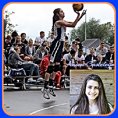 Image collage of U13 girls baskeball player in Holland. playing for the Barons team, 2013-14. Shown in air shooting a jump shot to our right and in portrait.