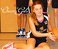 Chiara Gels, girls basketball player for SG Bramsche U13 girls Bezirksliga S�d player, sitting with basketball, #12, cropped from team photo.