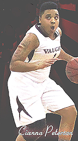 Cianna Peterson, Vaughn College basketball player, dribbling basketball.