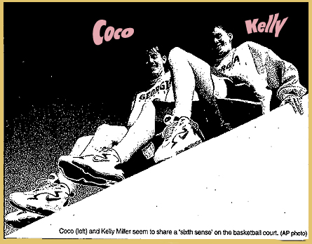 Picture of Coco and Kelly Miller, basketball playing identical twins, sitting on an incline with Georgia sweatshirts on. From the Kokomo Tribune, January 28, 1998. Text: Coco (left) and Kelly Miller seem to share a 'sixth sense' on the basketball court. (AP photo)