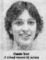 Portrait of Connie Yori, Iowa girls high school basketball player, for Ankeny High. Image from the Des Moines Tribune, Des Moines, Iowa, Dec. 8, 1981.