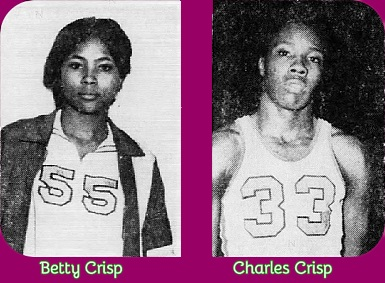 Images of high school basketball playing cousins, Betty (#55) and Charles Crisp (#33), Bolivar High, Tennessee. From The Jackson Sun, Jackson, Tenn., March 5, 1972