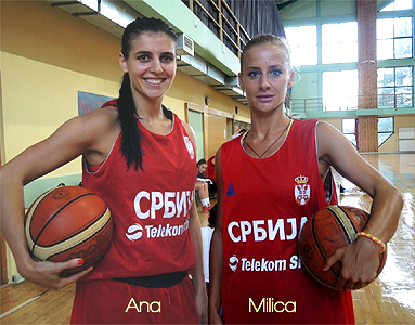 Image of ANa and Milica Dabovic, both with basketballs, posing in red uniforms with Cyrillic lettering.