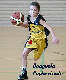 Danguole Pupkeviciciute, Herner TC U11, 10-yr. old girls basketball player, dribbling ball in game, in yellow uniform, #5.