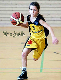 Danguole Pupkeviciute, in yellow uniform, #5, dribbling basketball. 10 years old, Herner TC U12 team