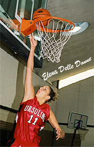 Elena Delle Donne (#11), Ursuline Academy basketball player, with a layupp high up at the basket..