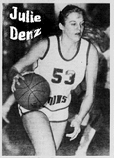 Julie Denz, number 53, Fort Madison Aquina High girls basketball player (Iowa), dribbling the ball. From Burlington Hawk Eye, March 18, 1982.