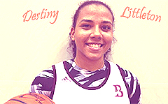 Portrait, in uniform, of Destiny Littleton, girls basketball player for Bishop's High School, La Jolla, California.