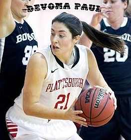Image of Plattsburgh State's Devona Paul, women's basketball player, number 21, driving with the basketball.