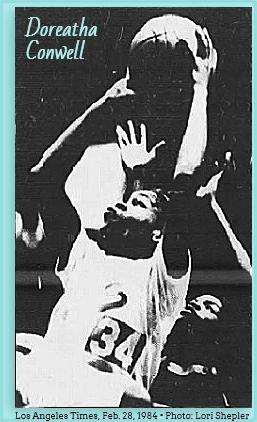Image of California girls basketball player, Doreatha Conwell, number 34, up in the air, shooting a two handed jump shot to our left. Leaning back. Frfom The Los Angeles Times, Feb. 28, 1984. Photo: Lori Shepler.