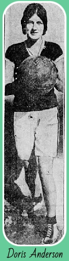 Image of Doris Anderson, 1930 girls basketball player for Arkansas' El Dorado High School (Strong), holding basketball. From The Central New Jersey Home News, New Brunswick, New Jersey, February 22, 1930.