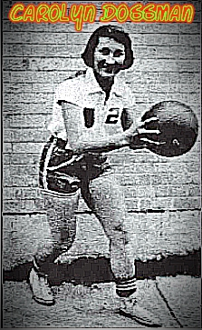 Image of girls basketball player, Bayou Chicot High (Louisiana), a senior in 1959. Posing, dribbling basketball in front of a wall. From the March 19, 1959 edition of the Daily World from Opelousas, Louisiana.