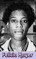 Portrait image of Felicia Hayes, Lyman Harrison Central High School (Miss.) girls basketball player, from the Clarion-Ledger, Jackson, Mississippi, Feb. 27, 1992.