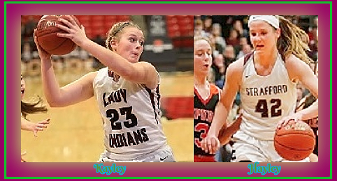 Images of twin sister girls basketball players on the Strafford High School Lady Indians (Missouri), in action, Kayley Frank, #23 and Haley Frank, #42.