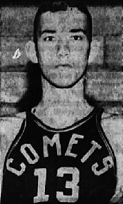 Portrait image of Men's basketball player for Moline Community College, in #13 COMETS uniform. From The Daily Dispatch, <oline-East Moline, Illinois, February 12, 1955.
