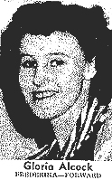 Picture of Gloria Alcock, Frederika High School (Iowa) basketball player, on being chosen 2nd team, All-State, 1946-47. From The News, Mt. Pleasant, Iowa, March 17, 1947.