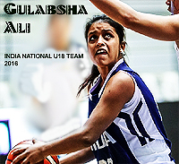Image of Gulabsha Ali, as member of India U18 National team in 2016, in action, with ball, looking to pass, in blue uniform.