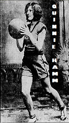 Image of Quinnie Hamm, Sparkman Sparkler, shooting a set shot. From a page of photographs from The Indianapolis Star, Indianapolis, Indiana, May 5, 1929.