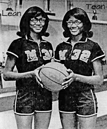 Image from The Jackson Sun, Jackson, Tennessee, Feb. 23, 1968 picturing identical twin sisters Lean and Tean Hegmon, in uniforms of their Merry High Hornettes basketball team. Both holding basketball. Uniforms have big M and uniform number on front.